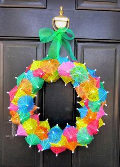#diy #wreath #summer #spring #umbrella Summer Diy, Summer Crafts, Fun Crafts, Christmas Crafts, Wreath Crafts, Wreath Ideas, Summer Wreath, Spring Wreaths, Easter Crafts