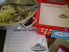 Mrs. Bremer's Kindergarten: Spaghetti & Meatball Spelling & More Literacy Work Stations...and Freebies!