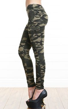 Military Cargo Skinny Pants GREEN