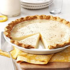 Sugar Cream Pie Recipe -I absolutely love creamy sugar pie; especially the one that my grandma made for me. Here in Indiana, we serve it warm or chilled. —Laura Kipper, Westfield, Indiana