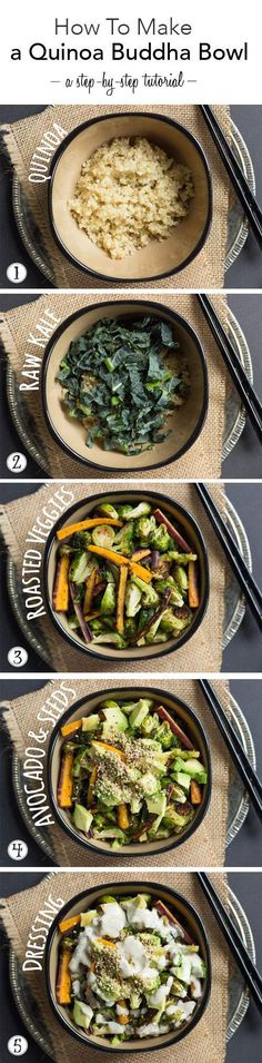 Quinoa Buddha Bowl: This is a quick and easy meal that can be adapted for all different tastebuds. Use whatever veggies your family enjoys in this quinoa buddha bowl recipe. Whole Food Recipes, Cooking Recipes, Clean Eating, Healthy Eating, Healthy Lunches, Healthy Dinners, Vegetarian Recipes, Healthy Recipes, Vegetable Recipes