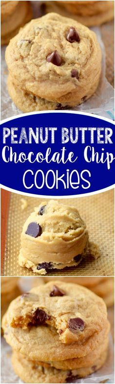 These Peanut Butter Chocolate Chip Cookies have a slightly crisp exterior and a deliciously buttery soft middle, completely with chocolate chips and peanut butter flavor! The ULTIMATE cookie.