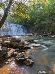 Vickery Creek flows in a waterfall over a historic dam, under a covered bridge and past Civil War mill ruins near Atlanta