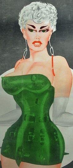 "The girl in green, not bad - Art by Gene Bilbrew - Board ""Art - Gene Bilbrew"" -"