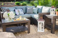 A Backyard Entertaining Space in Blue - Home Depot Patio Style Challenge by @thouswellblog