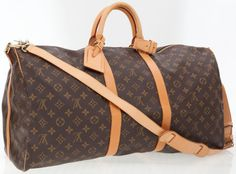 Louis Vuitton Classic Monogram Canvas Keepall 55 Weekender Overnight Bag  with Shoulder Strap Luggage Sets, dbfb96cce89
