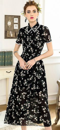 Chic Turn Down Collar Floral Print Maxi Dress