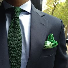 Navy suit with green tie & pocket square.