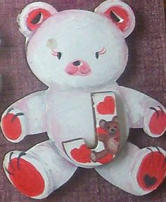 Love heart bear. in red and white. a well loved look by ArtZeeboze