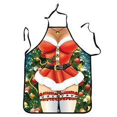 AMA(TM) Christmas Novelty Cooking Baking Kitchen Apron Chef Apron Funny BBQ Funny Sexy Party Apron Christmas Gift (C1)