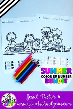 "SUMMER COLOR BY NUMBER by Jewel Pastor | This ""Summer Math Coloring Sheets BUNDLE"" is the perfect resource for your students this end of the year or during summer school. Just print the sheets and you are ready to go! Students color the picture through the key given at the bottom of each sheet. The coloring sheets feature images of kids and families while on picnic and vacation. 