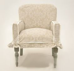 Quatrine Custom Furniture - Entry Slipcovered Chair #damask #distressedwood #neutral #small #slipcovered