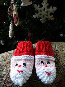 Crochet Baby Mittens the treat girl: Santa Mittens Baby Mittens Knitting Pattern, Knit Mittens, Loom Knitting, Knitting Patterns Free, Free Knitting, Crochet Patterns, Free Pattern, Free Christmas Knitting Patterns, Christmas Patterns
