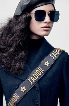 Aira Ferreira's gaze might be imperious and penetrating, but the sunglasses that set it off are far more accessible than aloof. Their fine metal frames hold blue lenses inspired by the night sky and constellations colors of Autumn-Winter 2017 collection. Runway Models, Beauty Editorial, Editorial Fashion, Dior Girl, Parisian Wardrobe, Dior Addict, Miss Dior, Dior Sunglasses, Summer Fashion Outfits