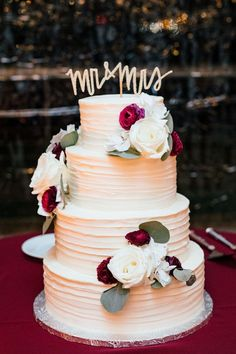 """Romantic wedding cake, white and red florals, gold """"Mr. & Mrs."""" cake topper // Smash Studios Photography"""