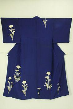 Tsukesage / 瑠璃色地 抽象的な花柄 付下げ#Kimono #Japan http://global.rakuten.com/en/store/aiyama/