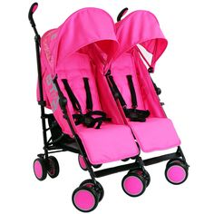 Zeta Citi TWIN Stroller Buggy Pushchair - Raspberry Pink Double Stroller - Baby Travel UK - 1