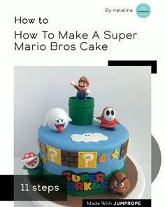 How To Make A Super Mario Bros Cake in 11 steps Boys Birthday Cakes Easy, Toy Story Birthday Cake, Mario Birthday Cake, Super Mario Birthday, Super Mario Party, 5th Birthday, Mario Bros Y Luigi, Mario Bros Cake, Mario Kart Cake