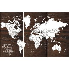 Custom Large World Push Pin Travel Map With Us Borders 3 X 4 Screen... ($304) ❤ liked on Polyvore featuring home, home decor, wall art, grey, home & living, home décor, ink painting, rectangular wall art, wood wall art and mounted wall art