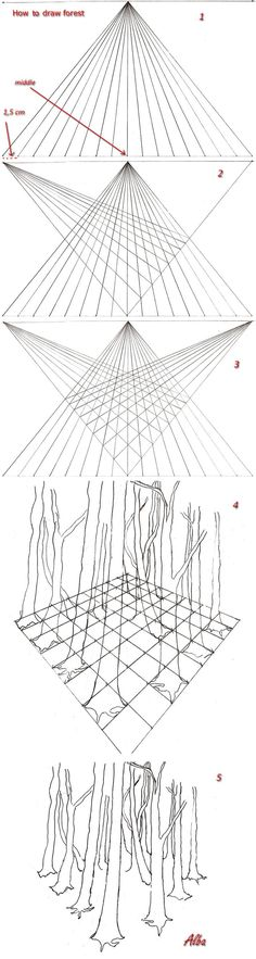 How to draw forest in perspective by ~lamorghana on deviantART: