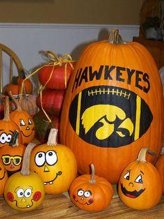 Painted this Iowa Hawkeyes pumpkin for a friend Iowa Hawkeye Football, Flag Football, Iowa Hawkeyes, Halloween Pumpkins, Fall Halloween, Halloween Ideas, Broom Corn, Biggest Pumpkin, Pumpkin Photos