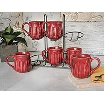 Fluted Mug Set with Stand- Red