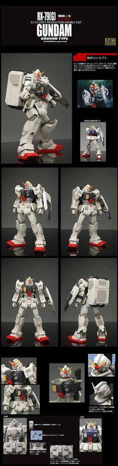 HGUC land battle type Gundam Ground Type, Gundam Model, Mobile Suit, Weapons, Battle, Hguc, Anime, Engineering, Models