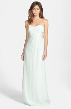 Amsale Strapless Crinkle Chiffon Gown available at #Nordstrom I love this color!