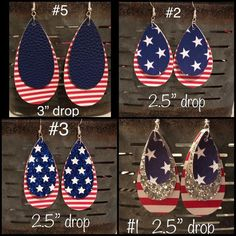 Items similar to Patriotic ~Memorial Day, Labor Day, of July Faux Leather Earrings on Etsy Gold Star Earrings, Diy Leather Earrings, Cluster Earrings, Diy Earrings, Leather Jewelry, Teardrop Earrings, Flower Earrings, Star Jewelry, Diy Jewelry