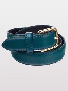 Unisex Basic Leather Belt (Forest/Gold) - Americanapparel.net