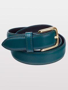 Unisex Basic Leather Belt (Forest/Gold) - Americanapparel.net