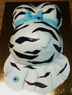 Zebra striped baby belly bump cake - bridal shower. Cute idea - maybe without the zebra design w/ yellow