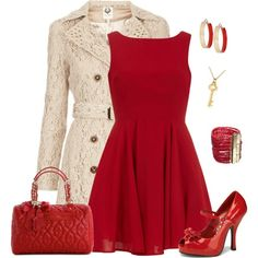 Red by alecias on Polyvore featuring Alice & You, Betsey Johnson, Rosantica, Dorothy Perkins, Kate Spade and Topshop