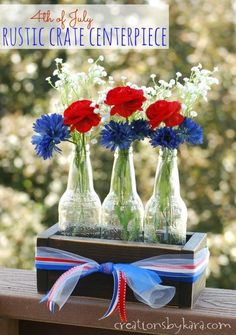 4th of July Centerpiece with DIY Rustic Crate - Great for July 4th, or Memorial day -from creationsbykara.com