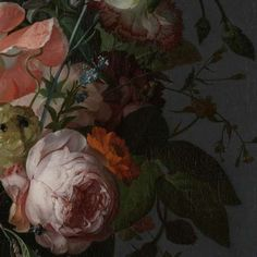 (2) Detail of Still Life with Flowers on a Marble Tabletop, Rachel Ruysch, Rijksmuseum. (check out how to access the full thing via the Rijksstudio - I understand it should be free to use)