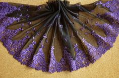 2 Yards Lace Trim Exquisite Luxury Black Tulle Purple by lacediy