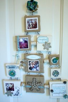"Holiday Canvas ""Christmas Tree"" wall hanging by Petaloo DT member Denise Hahn.  It was created with different sizes of framed canvases decorated with Petaloo flowers and trims!  How original and cute!"