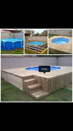 Summer is coming which means you'll need to cool off in the pool! Build a swimming pool deck! Looks easy & cheap to make. Piscina Pallet, Piscina Diy, Backyard Pool Designs, Backyard Projects, Diy Projects, Backyard Ideas, Building A Swimming Pool, Swimming Pool Decks, Pallet Pool