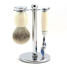 """Yonge"" Gillette Fusion Shaving Set in Imitation Ivory, Silvertip Badger Shaving Brush - Blue Men Shaving Stand, Shaving Set, Badger Shaving Brush, Gillette Fusion, Close Shave, Luxury Soap, You Are The World, Chrome, Fragrance"