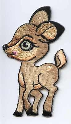 New Iron-On Applique Embroidered Patch Cute Baby Bambi White Tail Deer Fawn