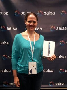 Jackie Banks-Mahlum from Arts Alliance Illinois wins an iPad. It pays to wake up early at #FUSEcon2014!