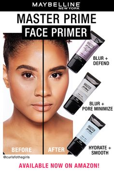 Prep your skin by creating a smooth and even canvas to use with or without makeup with the Maybelline Master Prime Primer. Get complexion perfection with one of these three must-have primers! Contour Makeup, Eyebrow Makeup, Makeup Dupes, Skin Makeup, Makeup Cosmetics, Contouring, Beauty Tips For Glowing Skin, Beauty Skin, Beauty Makeup