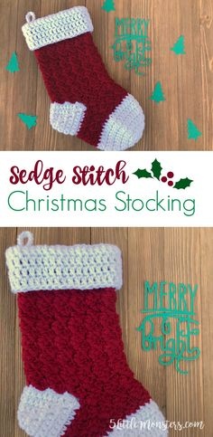 Free crochet pattern for a sedge stitch stocking. The sedge stitch creates a nice texture on the body of the stocking and the classic red and white combo is perfect for Christmas.