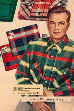 I still remember buying my Grampa a flannel, plaid shirt every year for Christmas. 1940s Mens Fashion, Retro Fashion, Vintage Fashion, Fashion Fail, Men's Fashion, Vintage Denim, Vintage Man, Plaid Christmas, Western Outfits