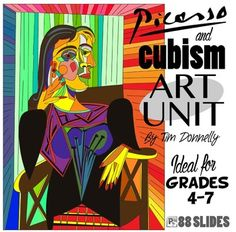 This powerpoint is an excellent art unit for upper primary classes.  Students explore the cubism art movement and the artist Pablo Picasso.  They then create a cubist piece of art with each step explained in intricate detail.    Oil pastels is the best medium for this project.