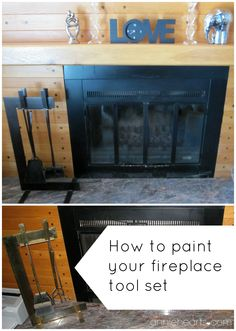 Paint your brass fireplace accessories a beautiful oil-rubbed bronze. anniehearts.com