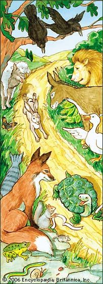 """""""The Tortoise And The Hare"""". Art by Lisa Hunt - From The Classic Aesops Fables Collection - England - Pub. (1867)"""