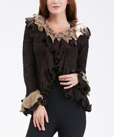 Simply Couture Coffee Ruffle-Trim Wool-Blend Cardigan - Plus Ruffle Trim, Wearable Art, Wool Blend, Your Style, Curves, Plus Size, Couture, Coffee, Outfits