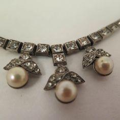 Antique 835 Silver Paste Necklace 15 inch