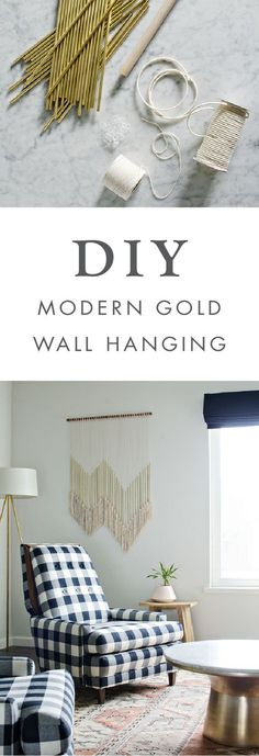 We love the idea of adding this DIY Modern Gold Wall Hanging to any room of your home! This boho decor project would looking stunning hung above your bed, office desk, or in your living room for a splash of quirky style.